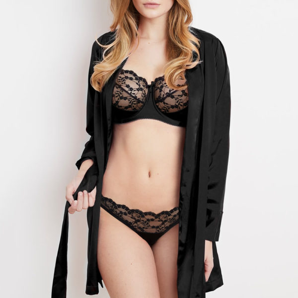 Sophia black lace lingerie set with matching silk robe