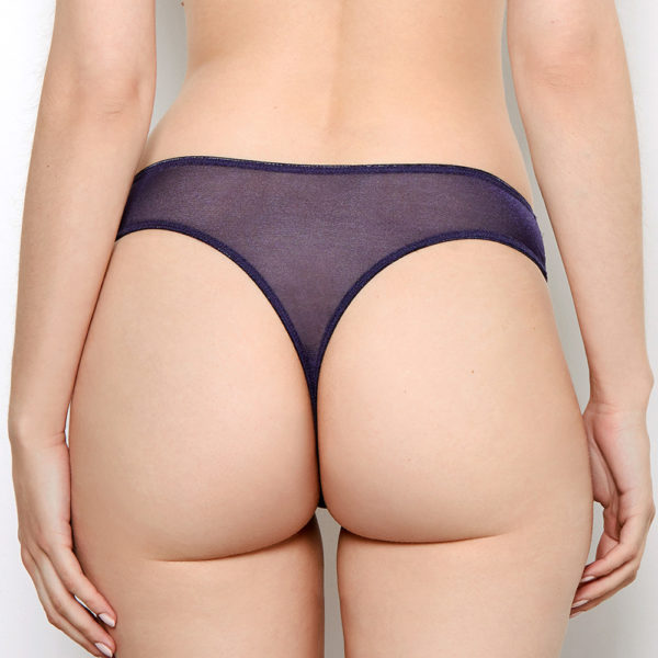 Abbie Purple Lace Thong Back View
