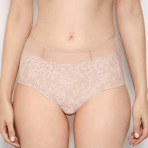 Abbie Pink Lace High Waisted Knickers - Front